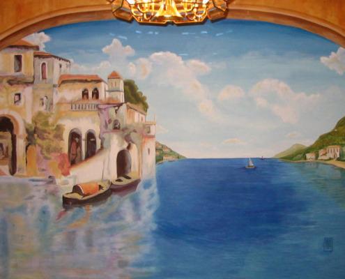 murals trompe l'oeil doorways and views Italian Seaside Mural Dining Room Bellevue Interior designer ideas muralist Samammish