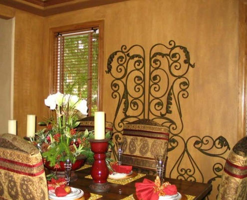 Architectural Faux Finish Formal Dining Bellevue wrought iron dining tablset