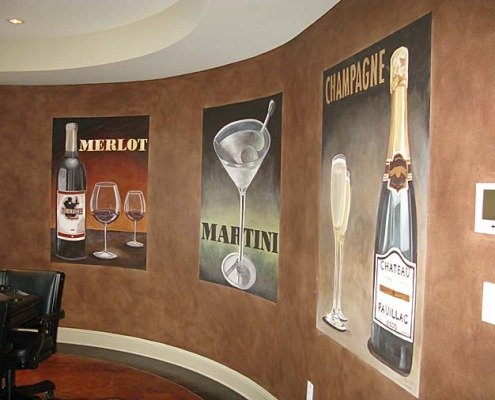 wine cellar murals Vintage Wine and Spirit Mural Bar and Game Room Bellevue Seattle Muralist mural artist interior design Kirkland