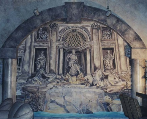 Seattle Mural Trevy Fountain Trompe L'oeil Mural Roman Casino Seattle Interior design ideas houzz mural artist restaurant statues horses Bellevue Tacoma murals trompe l'oeil doorways and views