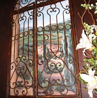 French Vineyard Mural Powder Room Redmond design muralist iron shutters Bellevue