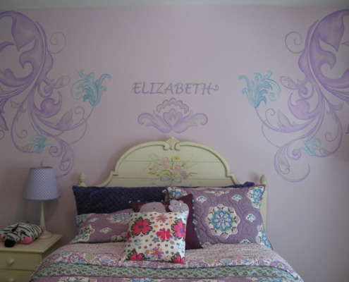 children's rooms Purple Scroll Design Girls Room Bellevue flowers pillows bed spread kids baby Samammish