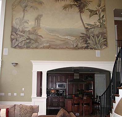 Sepia Murals Palm Trees and Beach Tropical Parchment Mural Bellevue Renton palm trees mural artist large art