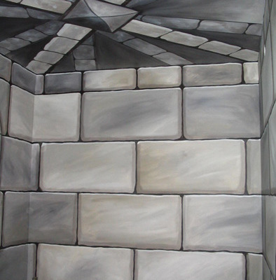 children's rooms murals trompe l'oeil doorways and views Trompe L'oeil Faux Stone Staircase and Turret In Hidden Stairway Olympia rock stacked gray stone Bellevue