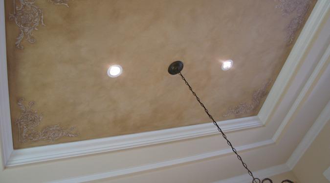 Raised Plaster Scroll Designs in Dining Room Mercer Island interior decorator Bellevue Tacoma trey inset ceiling ideas