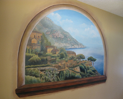 murals trompe l'oeil doorways and views Sorrento by the Sea Mural In Progress Dining Room Tacoma designer ideas mural artist Seattle Bellevue landscape seaside