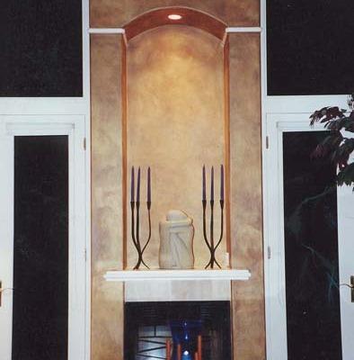 Architectural Faux Finish on Fireplace Kirkland decorative paint Seattle bellevue