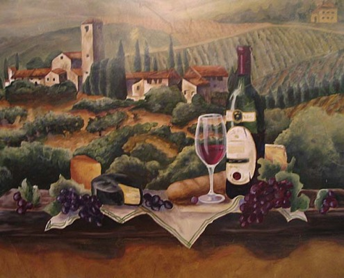 wine cellar murals Vineyard Wine Mural Seattle woodinville wine art