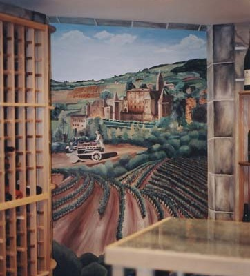 wine cellar murals French Chateau Vineyard Mural In Wine Cellar Seattle