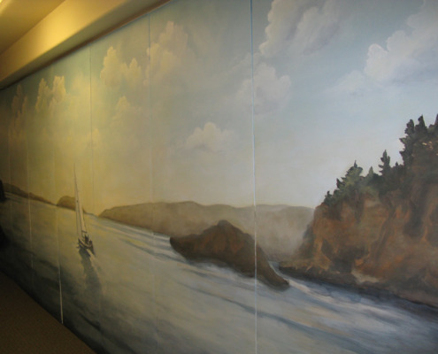 murals trompe l'oeil doorways and views San Juan Islands Light House Mural Seattle seaside landscape mural artist Tacoma