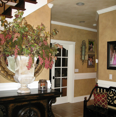 Architectural Faux Finish Entry Gig Harbor interior designers Seattle bellevue tacoma chair rail mahogany furniture