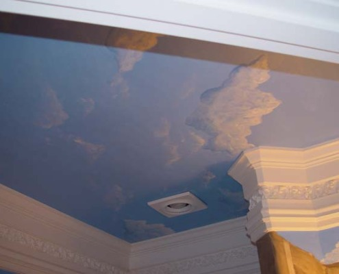 Cloudscape Ceiling in Powder Room Woodinville crown molding interior decorating mural art Seattle