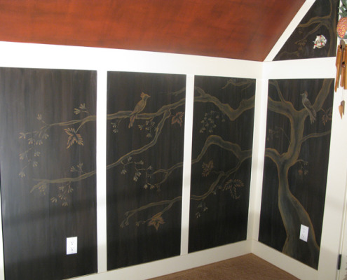 Sepia Murals Asian Tree Mural in Bedroom Redmond subtle mural trees birds wall interior Seattle designs Issaquah