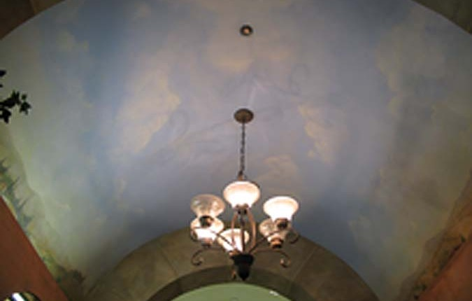 cloud ceiling murals in Wine Cellar Mercer Island Seattle Wine Cellar Ideas mural artist chandelier