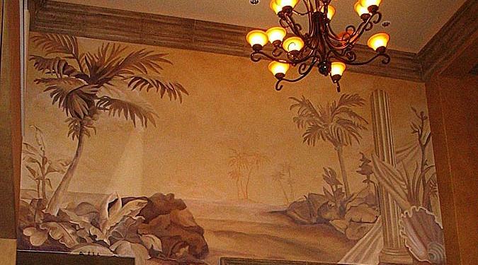 Sepia Murals Tommy Bahama Tropical Mural Living Room Kirkland palm trees water scene mural painter artist Seattle Redmond