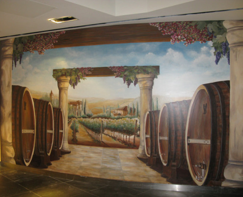 Wine Barrel and Vineyard Mural at the Venetian Hotel Las Vegas interior designer ideas mural artist restaurant murals Redmond murals trompe l'oeil doorways and views
