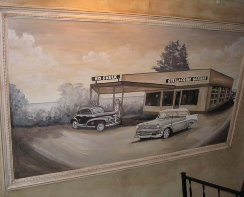 Sepia Murals Vintage Car Mural Olympia Tacoma Filing station wall art