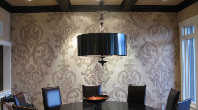 Acanthus Scroll Damask Design in Dining Room Redmond i Bellevue Seattle wall art damask scroll