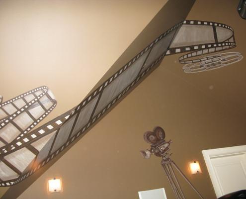 Sepia Murals Film Reel Mural in Home Theater Redmond Samammish movie room ideas interior design Bellevue