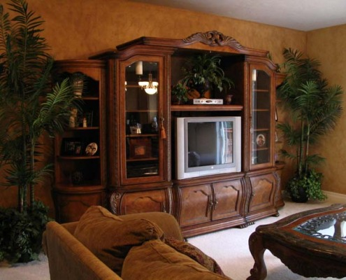 Architectural Faux Finish Family Room Redmond interior designer entertainment center