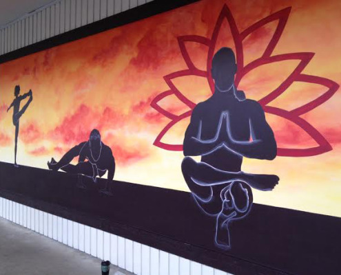 murals trompe l'oeil doorways and views Graphic Silhouette Hot Yoga Mural At The Ashram Studio in Kirkland Muralist Tacoma