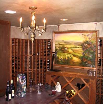 Architectural Faux Finish Ceiling Wine Cellar Mercer Island interior design ideas cherry wine racks chandelier Seattle bellevue houzz