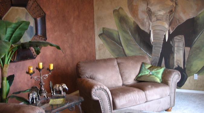 Sepia Murals Elephant Mural in Home Theater Kirkland suede sofa palms interior design ideas mural artist Tacoma Samammish