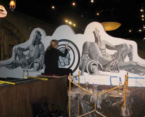 Seattle Mural Tromp L'oeil Roman Statue Mural in Progress Roman Casino Seattle commercial interior design ideas muralist restaurant murals Redmond statues zues Tacoma murals tromp l'oeil doorways and views