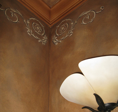 Raised Plaster Scroll Designs in Powder Room Woodinville iideas Tacoma Faux Finish Seattle
