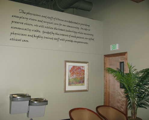 Clarus Eye Center Hand Painted Mission Statement Olympia signs phrases and words hand painted Seattle artist