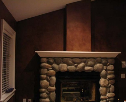 Choco;ate Brown Faux Finish Bellevue Family Room interior design ideas olympia house painters