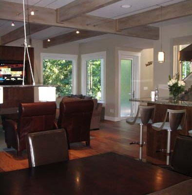 Beach wood look on beams Olympia bellevue ceiling beams contemporary brown leather sofas