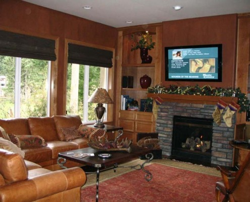 Architectural Faux Finish Family Room Redmond seattle tacoma stone fireplace