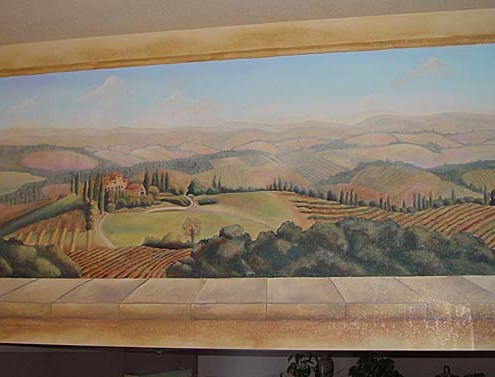 Italian Hillside Vineyard Mural in Entry Redmond wine cellar ideas mural painter restaurant murals Bellevue murals trompe l'oeil doorways and views