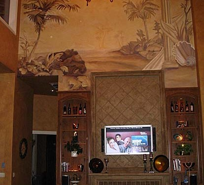 Sepia Murals Tommy Bahama Tropical Mural Living Room Kirkland stone mantle iron lighting