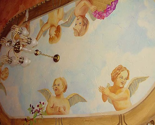 cloud ceiling murals Fresco of Cherubs on Cloud Ceiling Bellevue Seattle interior designer chandelier