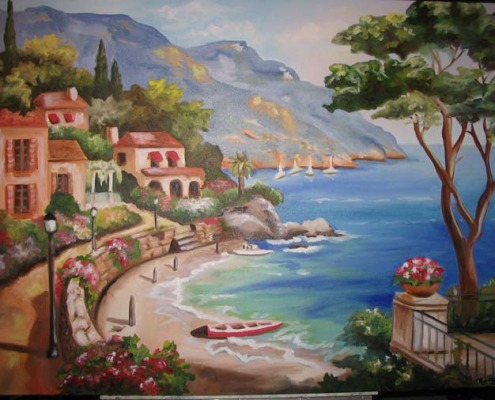 murals trompe l'oeil doorways and views Italian Waterfront Reproduction Mural Olympia Italian waterfront seaside villa villages boats murals Redmond