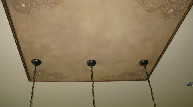 Raised Plaster Scroll Designs in Kitchen Mercer Island ceiling designs decorative details interior design faux finish Bellevue