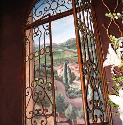 French Vineyard Mural Powder Room Redmond Interior designer mural painter landscape Tuscan iron shutters Seattle