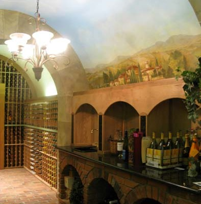wine cellar murals Vineyard Wine Cellar Mural Mercer Island Vashon Island wine art Interior Decorating wine cellar ideas