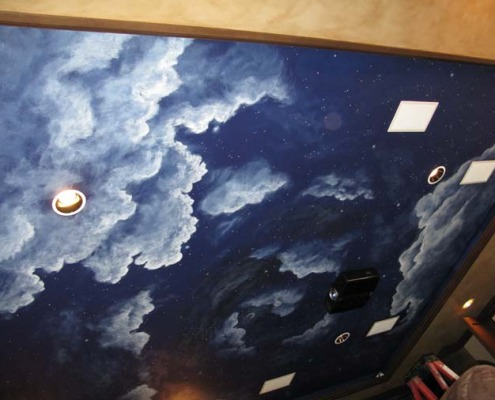 Night scape Sky Ceiling in Home Theater Bellevue theater ideas decorator Seattle glow in the dark stars