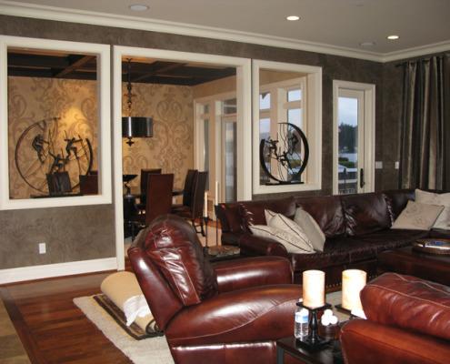 venetian plaster italian plasters Venetian Plaster Family Room Redmond leather sofa drum chandelier interior designers faux artist Seattle