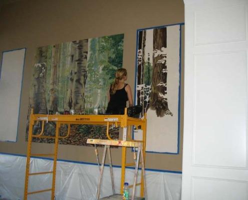 murals trompe l'oeil doorways and views Northwest Forest Mural in Progress Formal Living Room Bellevue tree Interior designers houzz muralist artist Seattle Kirkland