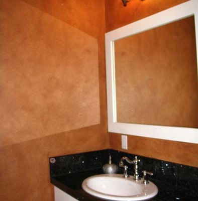 Architectural Faux Finish Powder Room Redmond Seattle house painters black and white vanity