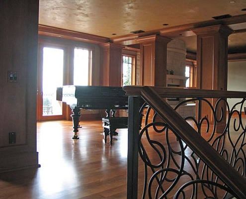 venetian plaster italian plasters Italian Plaster Ceiling Family Room Seattle Venetian plaster grand piano iron railing interior design faux Bellevue Kirkland