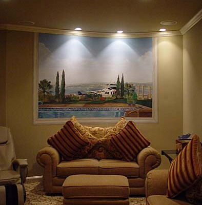 murals trompe l'oeil doorways and views Secret Room With a View Mural - View of Front yard Kirkland Interior design ideas houzz landscape sofa striped pillows muralist Bellevue