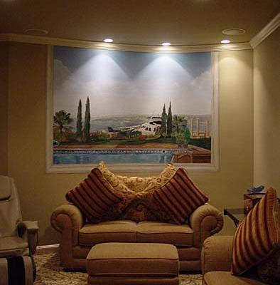 murals trompe l'oeil doorways and views Secret Room With a View Mural - View of Front yard Kirkland Interior design ideas houzz landscape sofa striped pillows muralist Bellevue