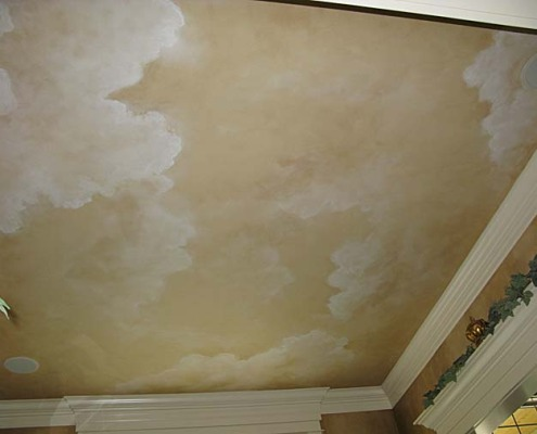 Soft Subtle Sepia Cloud Ceiling Formal Living Kirkland painted clouds muralist Seattle