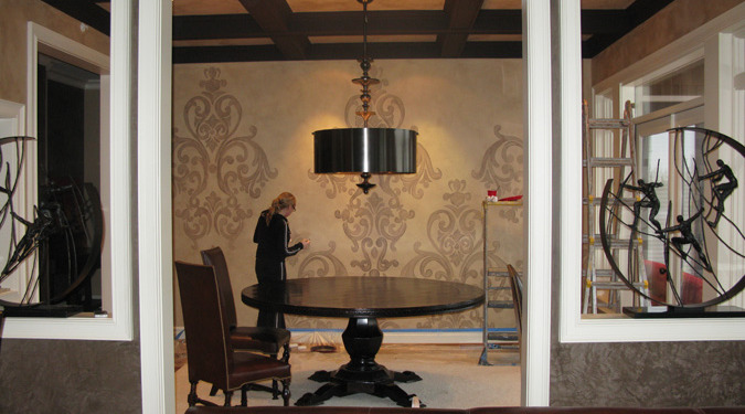 Acanthus Scroll Damask Design in Dining Room Redmond interior decorating dining table drum chandelier Seattle ideas decorating damask scroll wall designs