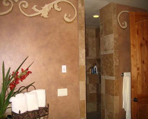 Architectural Faux Finish Master Bath Gig Harbor interior designers decorative scrolls travertine shower
